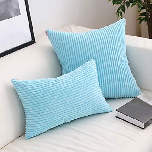 YANJHJY 2 fundas de cojín de terciopelo suave, funda de almohada de pana flocado, rayas amarillas y grises, funda de almohada decorativa de 45 x 45 cm, 60 x 60 cm, azul cielo, 2 unidades de 40 x 60 cm