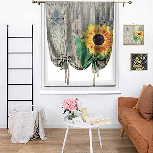 Sunflower Roman Curtain Home Sunflower on Wooden Old Board Bouquet Floral Mother Earth Artsy Photo Kitchen Curtain W31 x L64 Inch Brown Green Yellow