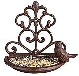 garden mile Vintage Style Decorative Cast Iron Bird Feeder Bird Bath, Bronze Bird Feeding Station Bird Table Seed Feeder Wall Mounted Garden Ornament.