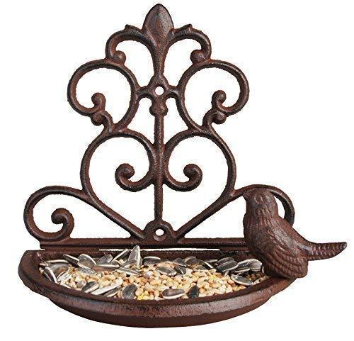 Garden Mile Vintage Style Décoratif fonte mangeoire pour oiseaux bain oiseau, bronze oiseau Alimentation Station OISEAU table Mangeoire à graines montage mural décoration jardin