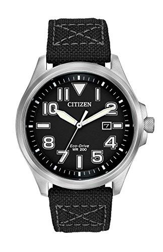 Citizen Herren Analog Solar Uhr mit Textil Armband AW1410-08E