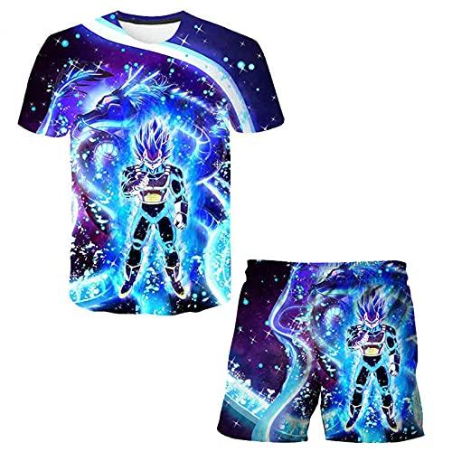 Bambini Dragon Ball Maglietta Pantaloncini Sets Ragazzi 3D Anime Manica Corta Completo Ragazzi Cartoon Tee Top Shorts 2 Pezzi Abiti Ragazza Summer Beachwear Bambini Estate Pigiama Sets
