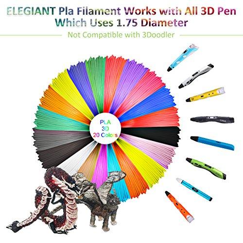 ELEGIANT 20 Stück Ink Filament PLA Filament 3D Stift Filament 1.75MM 10M 3D Print Filament 3D Printing Pen Supplies PLA Material 20 Farben Set für 3D Drucker Stift 3D Pen Kinder - 3