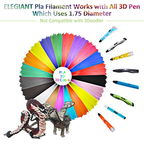 ELEGIANT 20 Stück Ink Filament PLA Filament 3D Stift Filament 1.75MM 10M 3D Print Filament 3D Printing Pen Supplies PLA Material 20 Farben Set für 3D Drucker Stift 3D Pen Kinder - 3