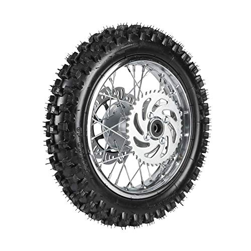 ZXTDR 3.00-12 1.85x12 Rear Wheel With 12mm Bearing Axle 80/100-12 Tire Rim & Brake Disc Rotor and Sprocket for Dirt Pit Bike