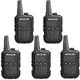 Retevis RT15 Walkie Talkie Profesional 16 Canales 2W Two Way Radio 50 CTCSS/208 DCS Transceptor Recargable VOX Escaneo Transmisores-receptores con EU Adaptador (Negro, 5 Packs)