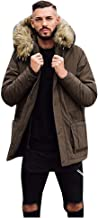 $37 » sheart 9 Men's Warm Parka Jacket Winter Thicken Faux Fur Lined Quilted Anorak Jackets Coat with Removable Fur Hoo