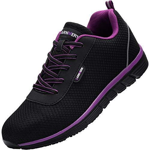 Zapatillas de Seguridad Mujer,L8038 S1 SRC Zapatos de Trabajo con Punta de Acero Ultra Liviano Suave y cómodo Transpirable Antideslizante 39 EU,Morado Negro