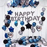 """Toys and Games. (NO STAR AND NO GLUE DOT) Blue and Silver Unique Birthday Decoration Items Combo include: 1 set of silver 13Pcs """"Happy Birthday"""" alphabet foil balloons and 30Pcs Blue, Black and Silver Metallic latex balloons for home, office, apartme..."""