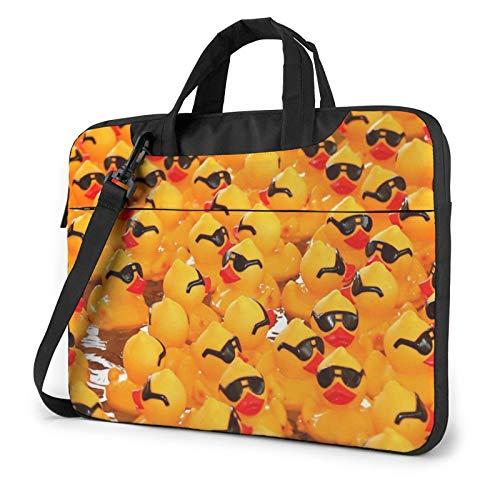 Bolsa de hombro para portátil – color vino con estampado de corcho a prueba de golpes impermeable para portátil, Pato de goma con gafas de sol (Rosa) - 259841