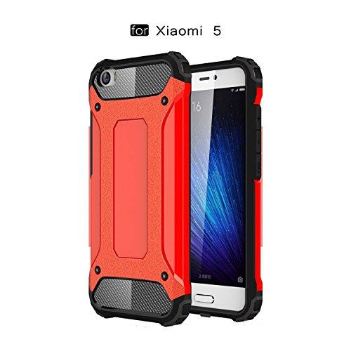 Ycloud Custodia per Xiaomi Mi5 Doppio Strato Heavy Duty Silicone TPU + PC Rigida Cover Armatura Protettivo Antiurto Rosso Case per Xiaomi Mi5