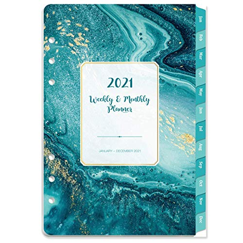 2021 Planner Refills - 2021 Weekly & Monthly Planner Refill with Monthly Tabs, 6-Hole Punched, Jan 2021 - Dec 2021, 8.27' x 5.7', Loose Leaf Paper, Beautiful Blue Pattern