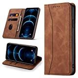 Leaisan Handyhülle für iPhone 12/iPhone 12 Pro Hülle Premium Leder Flip Klappbare Stoßfeste Magnetische [Standfunktion] [Kartenfächern] Schutzhülle für iPhone 12/iPhone 12 Pro Tasche - Braun