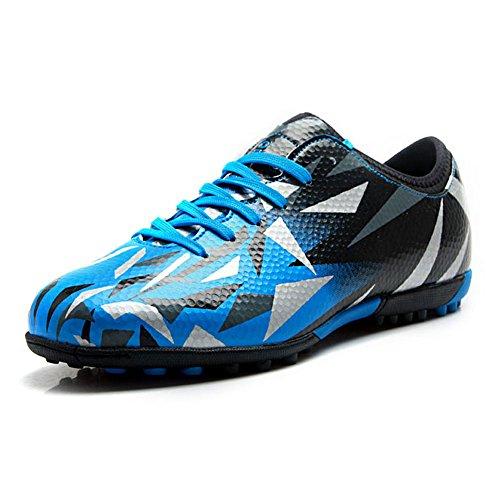 Jamron Tiebao Unisexo Niños Adulto con Cordones Caucho Tacos Zapatos de Fútbol Botas para el Suelo Artificial Duro Interior Azul S76516 Adultos EU43