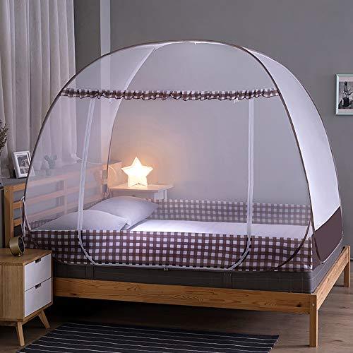 Pop Up Moskitonetz Bett, Faltbares Bett-Moskitonetz, Tragbares Reise-moskitonetz, Einzeltür-Moskito-Campingvorhang, Anti Mosquito Bites (Kaffee,120 * 200 * 145cm)