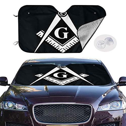 BIAN-63 Car Sun Shades for Windshield Foldable Freemasonry Masonic Lodge Square and Compasses Sunshades for Car UV Sun Protection Keep Your Car Cooler