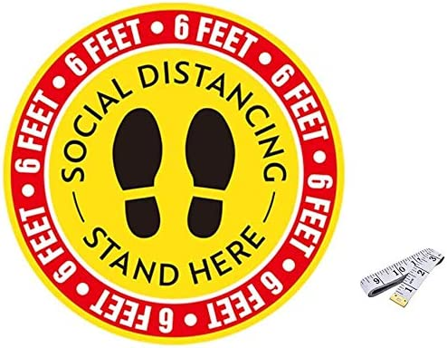 2021 Social 2021 wholesale Distancing Floor Decal Stickers with Ruler, 11'' Stand Decal Wait Here Sign Safety Distance of 6 Feet Sticker Markers, for Crowd Control Guidance, Grocery, Pharmacy, Bank, Lab 10 Pack online