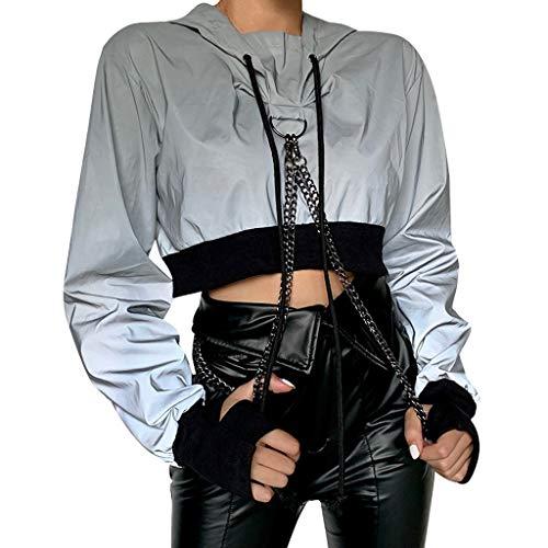 AOGOTO Mode Damen Irregulär Reflektierend Farbblock Beiläufig Jacke Hüfte Hop Postleitzahl Mantel