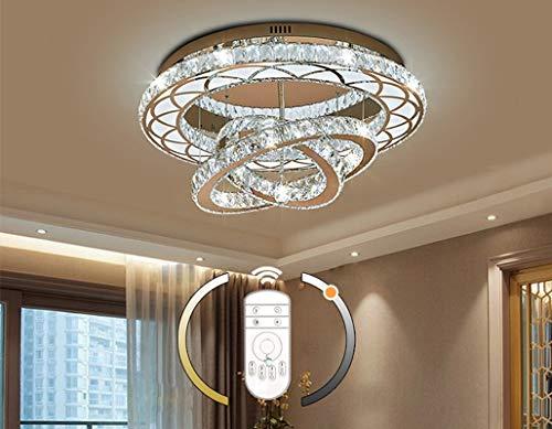 LED Kristall Deckenleuchte Wohnzimmer lampe Modern Ringe Design Deckenlampe Decke Leuchte Dimmbar mit Fernbedienung Schlafzimmer Studierzimmer Kinderzimmer Beleuchtung 108W Ø 60CM