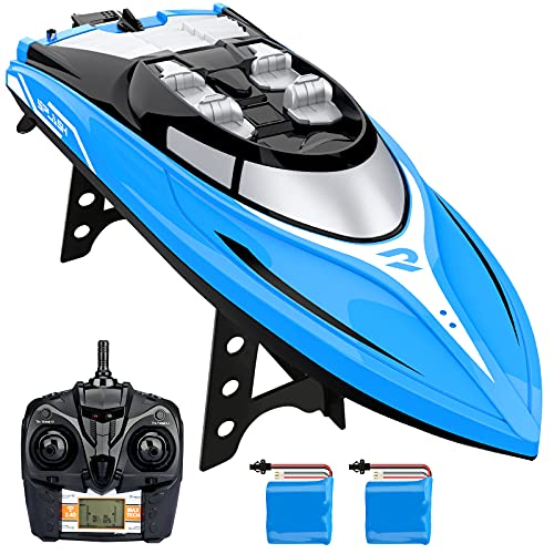 Growsland RC Boat, H108 20+ MPH Fast Remote Control Boat for Pool and Lake, 2.4 GHz High Speed Remote Controlled Boat for Adults and Kids (2 Rechargeable Batteries & Low Battery Alarm System)