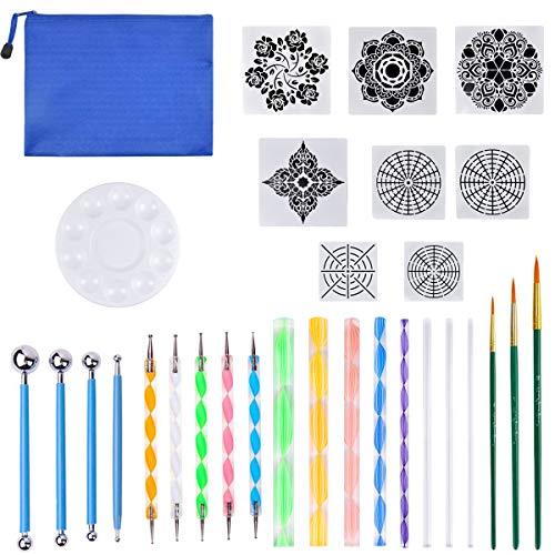 Mandala-Punktwerkzeug für Steine 30 Stücke Mandala Dotting Set Mandala Dotting Schablone Dotting Tools für Acryl Malpinsel Dot Painting für DIY Malerei Polymer Nail Art Handwerk Zeichnung Drafting