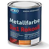 Metallfarbe ROKOSIL - 0,7 Kg in Weiss - Seidenmatt - 3in1 Grundierung, Rostschutz & Deckfarbe - Langlebig & Robust - Premium Metalllack für viele Metalle - Metallschutzlack, Metall-Lack