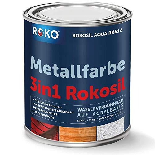 Metallfarbe ROKOSIL - 0,7 Kg in Anthrazit - Seidenmatt - 3in1 Grundierung, Rostschutz & Deckfarbe