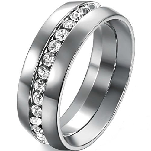 Jude 8 mm Stainless Steel wedding Band Engagement Eternity anello e acciaio inossidabile, 69 (22.0), colore: Silver, cod. JR107-125