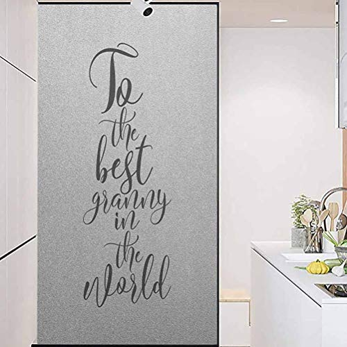 """Vinyl 3D Decorative Window Stickers, Grandma to The Best Grandmother in The World Quote Mon, Home Window Tint Film Heat Control, 17.7"""" Wx35.4"""" Linches"""