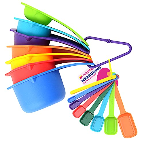 15 PCS Cute Plastic Measuring Cups and Spoons set for Liquids or Dry Measuring Cups Square Tablespoon Measure Spoon with Handle for Baking and Cooking Measuring tools Fits in Spice Jars -Rainbow
