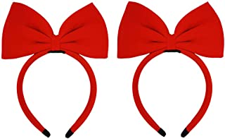 CHuangQi 2pcs Large Bow Headbands for Girls & Ladies, Cute Princess Hair Accessories, Red