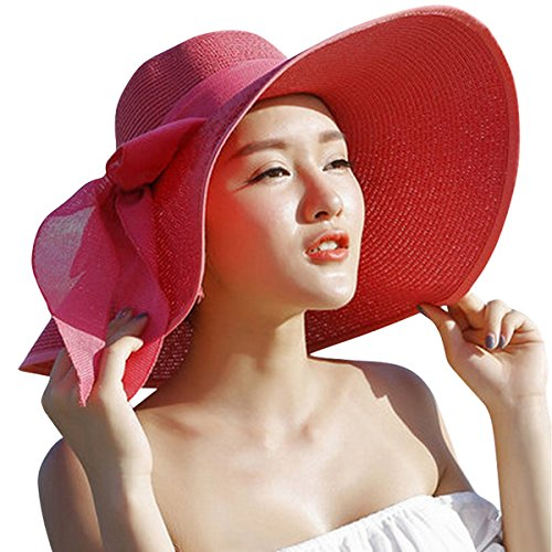 Lanzom Womens 5.5 Inches Big Bowknot Straw Hat Large Floppy Foldable Roll up Beach Cap Sun Hat UPF 50+(Red)