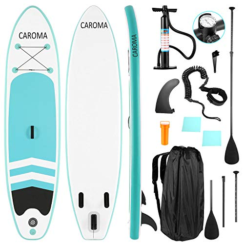 Caroma Inflatable Stand Up Paddle Board Premium SUP Accessories Bottom Fin for Paddling Leash Hand Pump and Backpack NonSlip Deck Youth amp Adult Standing Boat