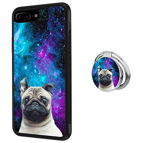 Black iPhone 7 Plus 8 Plus Case with Ring Holder Stand Holder Galaxy Nebula Pug Pattern 360 Rotation Ring Grip Kickstand Soft TPU and PC Anti-Slippery Design Protection Bumper For iPhone 7 Plus 8 Plus