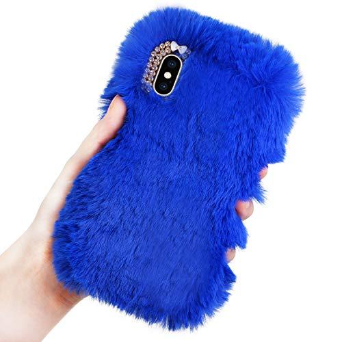 LCHDA kompatibel mit Plüsch Hülle Samsung Galaxy S8 Plus Flauschige Hasen Fell Hülle Handyhülle Warm Weich Kaninchen Pelz Niedlich Hase Handytasche Schützend Stoßfest TPU Silikonhülle-Blau