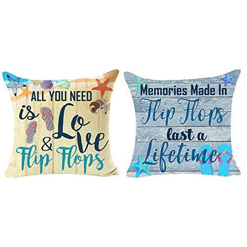 2 Stück Holzmaserung All You Need Is Love and Flip Flops Zitat Geschenk für Camping Strand Outdoor Baumwolle Leinen Quadratisch Throw Kissenbezug für Bett Coach Sofa 45,7 x 45,7 cm