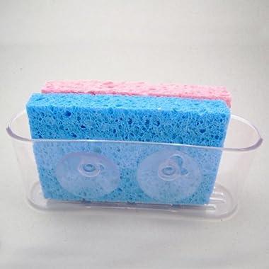 Kitchen Sink Caddy Organizer Sponge Dish Brush Holder Suction Cup Clear Plastic