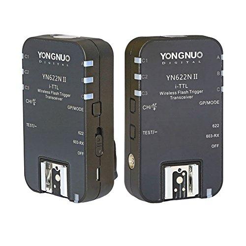 Yongnuo YN622N II - Kit de 2 transceptores para Nikon (FVl, 603-RX, AA, 7 Canales), Color Negro