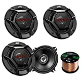 "Car Speaker Package of 2 Pairs of DR Series 5-1/4"" Inch 520 Watt 2-Way Upgrade Car Audio Stereo Coaxial Speakers Bundle Combo with Enrock 50 Foot 16 Gauge Speaker Wire"
