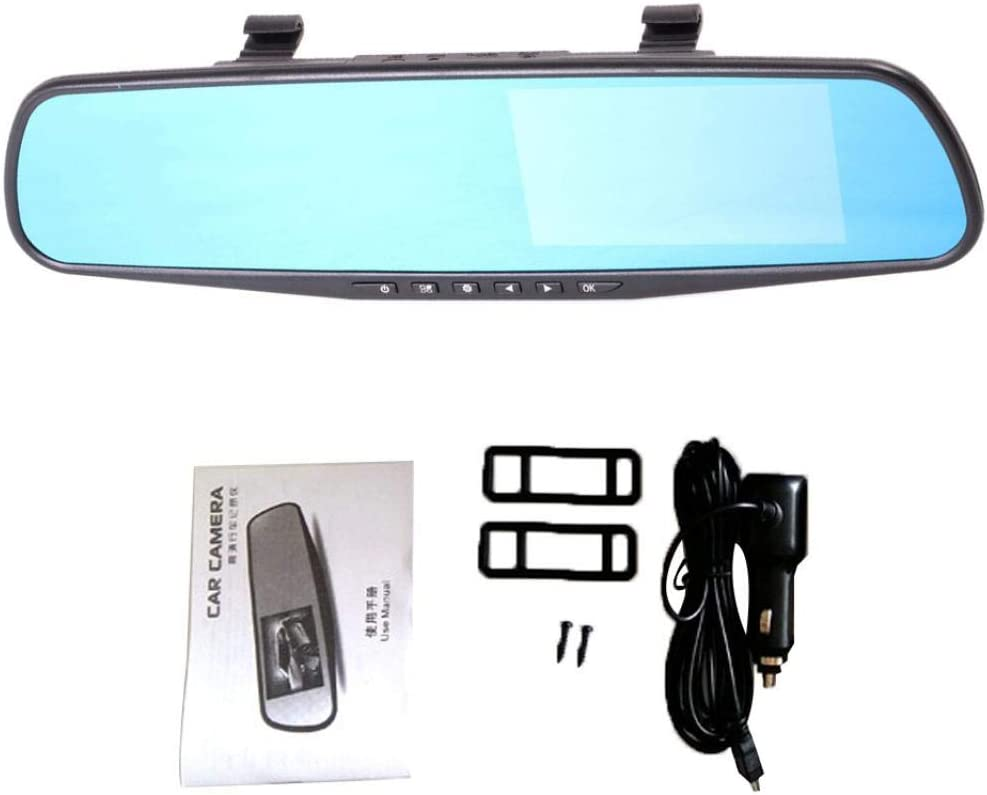 Grebest Car DVR Alarm Systems /& Security Car DVR 4.3 Inch HD 1080P Car DVR Dual Lens Rearview Mirror Camera Driving Dash Cam No Rearview Camera