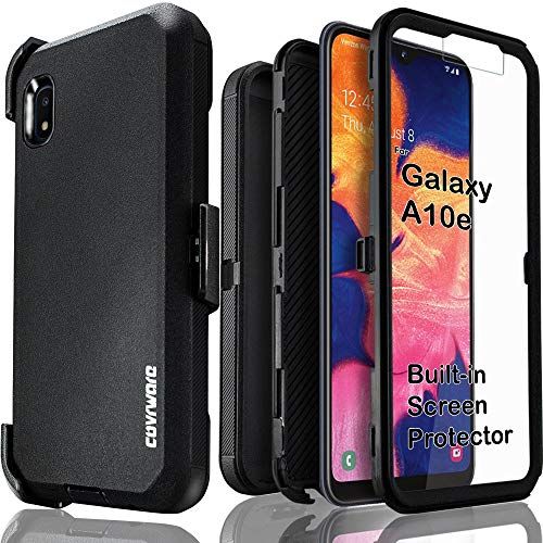 Samsung Galaxy A10e Case, COVRWARE [Tri Series] with Built-in [Screen Protector] Triple Layers Heavy Duty Full-Body Protective Armor Holster Cover, Black