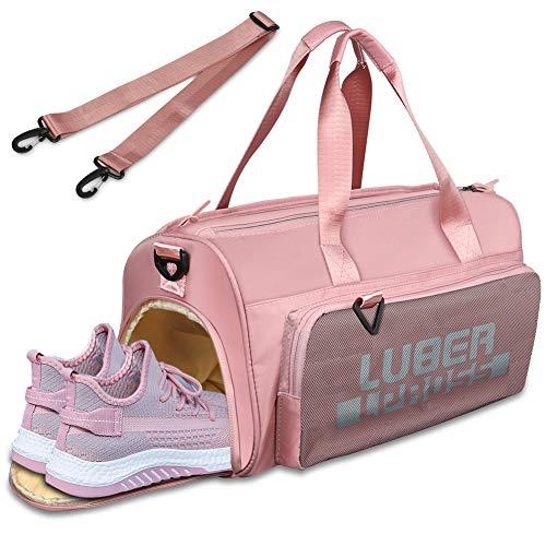 Sporttasche mit Schuhfach & Nassfach,BMSZW Wasserdicht Reisetasche Fitnesstasche Gym Sport Tasche Sporttasche für Damen,35L (pink)