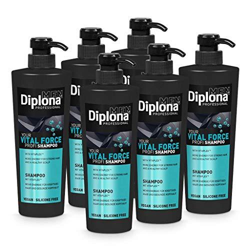 DIPLONA Shampoo für kräftiges Haar & gesunde Kopfhaut - YOUR VITAL FORCE PROFI Shampoo für Männer - veganes Haarshampoo ohne Silikone & Parabene - Herren Haarpflege 6x 600 ml