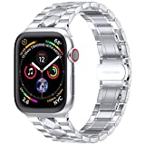 EPULY Compatible with Apple Watch Band 42mm 44mm 38mm 40mm, Business Stainless Steel Metal Wristband for iWatch SE Series 6/5/4/3/2/1