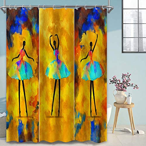 Thinyfull Ölgemälde Duschvorhang, abstrakte afrikanische Mädchen Ballerina tanzende Badezimmer Vorhang, wasserdichter waschbarer Stoff Baddekor mit Haken, 182,9 x 182,9 cm