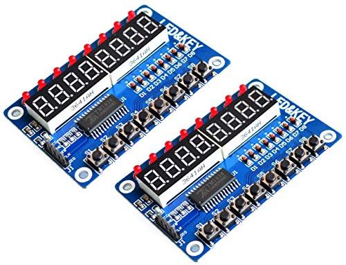 TECNOIOT 2pcs TM1638 Module Key Display 8-bit Digital LED Tube for AVR