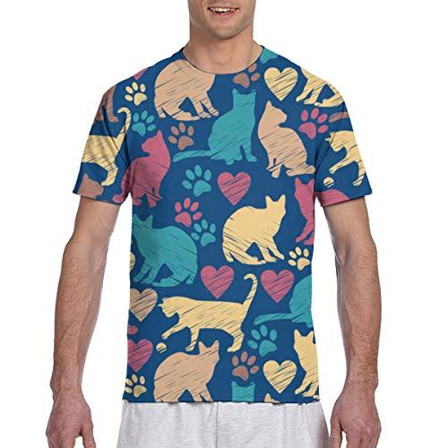 Elastische Katzen mit Herzmuster Herren Kurzarm T-Shirt mit Rundhalsausschnitt