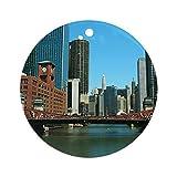 Yilooom Chicago Waterfront Hanging Decoration Ornament Xmas Special Keepsake Art Display - 3' In Diameter