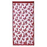 ODN Papillon Porte Rideaux Voilage Drapé Rideaux Décoration de fenêtres (Rouge)