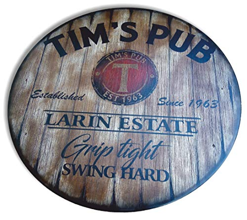 Personalized Table Top Inspired by Old Whiskey & Wine Barrel Lids, Custom Gifts for Men, Rustic Living Room Home Bar Man Cave Wood Furniture, Size 24/30/36/40/42 Inch